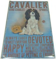 CAVALIER DOG HUMOUROUS CHARACTER METAL SHABBY CHIC PLAQUE DOG LOVER GIFT....